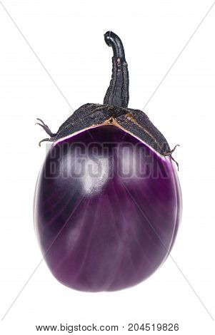 Raw purple aubergine isolated over white background cutout