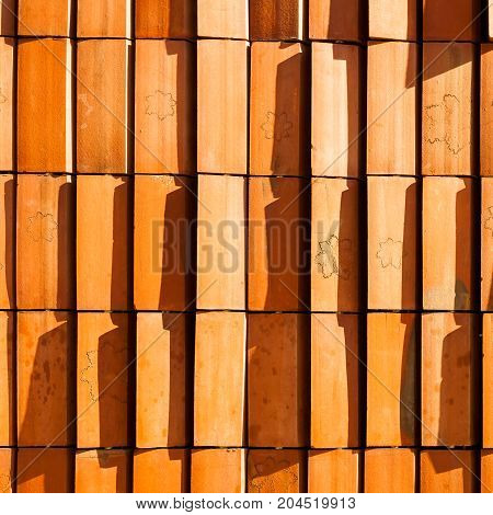 Texture consisting of clinker tiles Presspgraphic. Textured background. Blinds of clinker. Double skin facade.