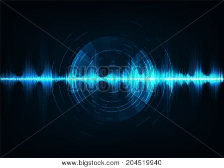 Blue music sound waves. Audio technology musical pulse.