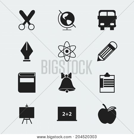 Set Of 12 Editable Education Icons. Includes Symbols Such As Apple , Supervision List  , Painter's Stand