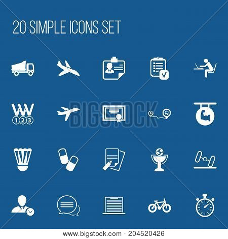 Set Of 20 Editable Complicated Icons. Includes Symbols Such As Aircraft, List, Navigation And More