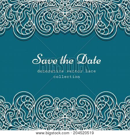 Swirly frame with lace border pattern cutout paper decoration for wedding invitation or save the date card design