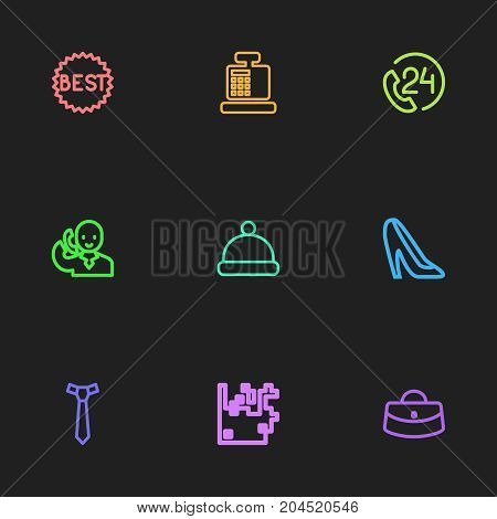 Set Of 9 Editable Trade Outline Icons. Includes Symbols Such As Woman Bag, Best Sale, Talking On Phone And More