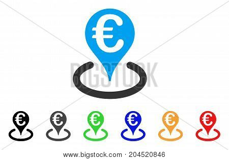 Euro Bank Map Marker icon. Vector illustration style is a flat iconic euro bank map marker symbol with black, gray, green, blue, red, orange color versions. Designed for web and software interfaces.