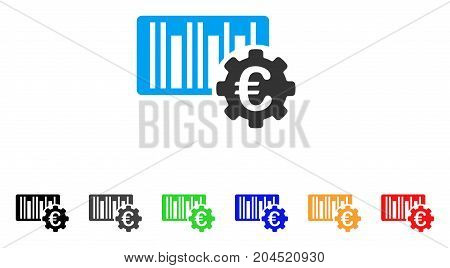 Euro Barcode Setup icon. Vector illustration style is a flat iconic euro barcode setup symbol with black, gray, green, blue, red, orange color variants. Designed for web and software interfaces.