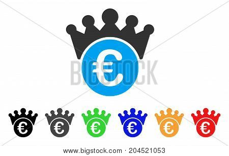 Euro Crown icon. Vector illustration style is a flat iconic euro crown symbol with black, grey, green, blue, red, orange color versions. Designed for web and software interfaces.