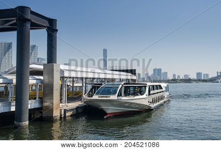 Ferry For Taking Passengers To Odaiba Island, Tokyo, Tokyo Bay, Japan