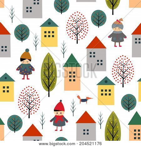 Cute houses, children, fox and trees seamless pattern on white background. Scandinavian style illustration with boy and girl. Landscape with kids and buildings. Design for textile, wallpaper, fabric.