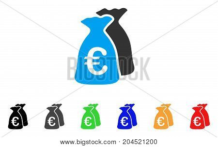 Euro Funds icon. Vector illustration style is a flat iconic euro funds symbol with black, gray, green, blue, red, orange color variants. Designed for web and software interfaces.
