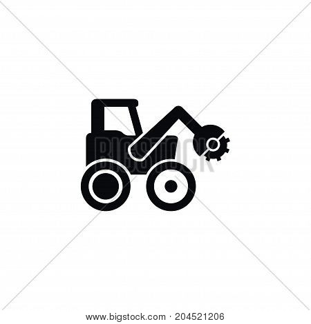 Tractor Vector Element Can Be Used For Farm, Vehicle, Tractor Design Concept.  Isolated Combine-Harvester Icon.