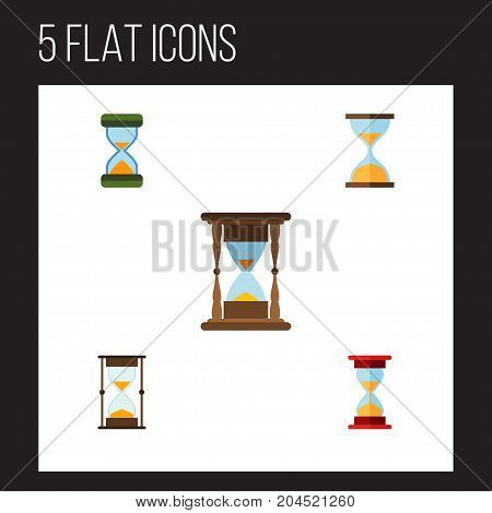 Flat Icon Sandglass Set Of Measurement, Loading, Clock And Other Vector Objects
