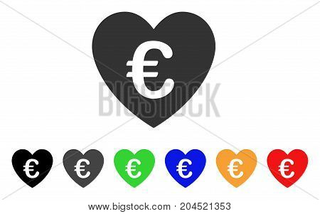 Euro Love Heart icon. Vector illustration style is a flat iconic euro love heart symbol with black, gray, green, blue, red, orange color variants. Designed for web and software interfaces.