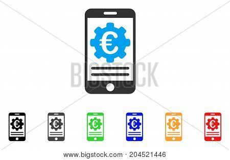 Euro Mobile Banking Configuration icon. Vector illustration style is a flat iconic euro mobile banking configuration symbol with black, grey, green, blue, red, orange color additional versions.