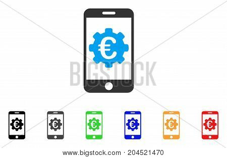 Euro Mobile Options icon. Vector illustration style is a flat iconic euro mobile options symbol with black, gray, green, blue, red, orange color additional versions.