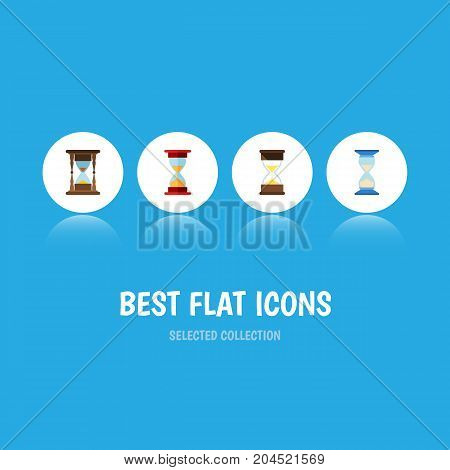 Flat Icon Timer Set Of Minute Measuring, Waiting, Loading And Other Vector Objects