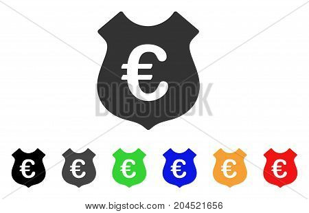 Euro Security icon. Vector illustration style is a flat iconic euro security symbol with black, grey, green, blue, red, orange color additional versions. Designed for web and software interfaces.