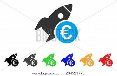 Euro Startup Rocket icon. Vector illustration style is a flat iconic euro startup rocket symbol with black, grey, green, blue, red, orange color variants. Designed for web and software interfaces.