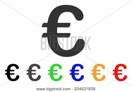 Euro Symbol icon. Vector illustration style is a flat iconic euro symbol symbol with black, grey, green, blue, red, orange color variants. Designed for web and software interfaces.