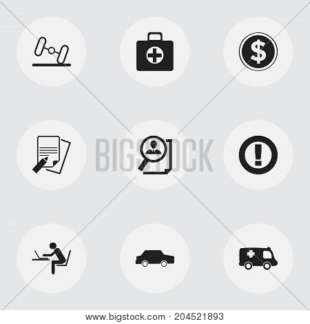 Set Of 9 Editable Complicated Icons. Includes Symbols Such As Emergency, Search, Dumbbell And More