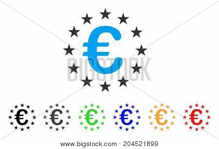 Euro Union Stars icon. Vector illustration style is a flat iconic euro union stars symbol with black, grey, green, blue, red, orange color versions. Designed for web and software interfaces.