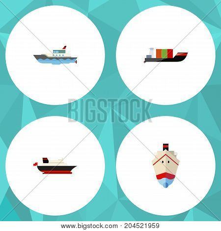 Flat Icon Ship Set Of Sailboat, Cargo, Tanker And Other Vector Objects