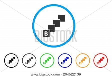 Bitcoin Blockchain icon. Vector illustration style is a flat iconic bitcoin blockchain grey rounded symbol inside light blue circle with black, gray, green, blue, red,