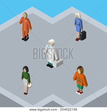 Isometric Person Set Of Pedagogue, Cleaner, Lady And Other Vector Objects