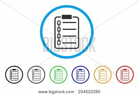 Blockchain Contract icon. Vector illustration style is a flat iconic blockchain contract gray rounded symbol inside light blue circle with black, gray, green, blue, red, orange color variants.