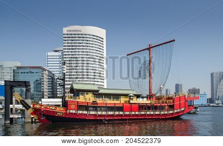 Traditional Japanese Style Red Boat At Tokyo Bay