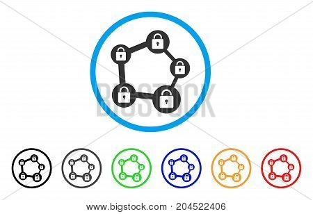 Blockchain Network icon. Vector illustration style is a flat iconic blockchain network gray rounded symbol inside light blue circle with black, gray, green, blue, red, orange color versions.