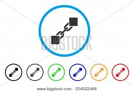 Blockchain icon. Vector illustration style is a flat iconic blockchain grey rounded symbol inside light blue circle with black, gray, green, blue, red, orange color variants.
