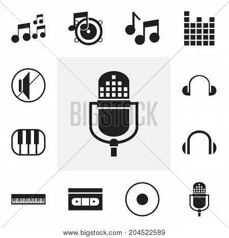 Set Of 12 Editable Music Icons. Includes Symbols Such As Audio Note, Loudspeaker, Microphone And More