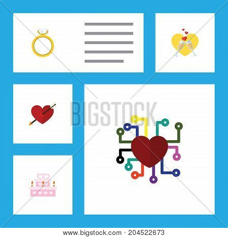 Flat Icon Heart Set Of Heart, Emotion, Patisserie And Other Vector Objects
