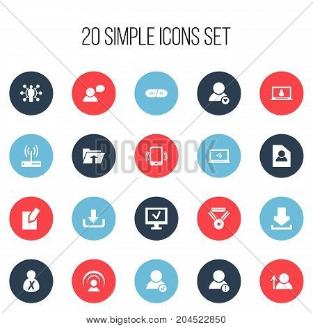 Set Of 20 Editable Internet Icons. Includes Symbols Such As Connection, Edit File, Download And More