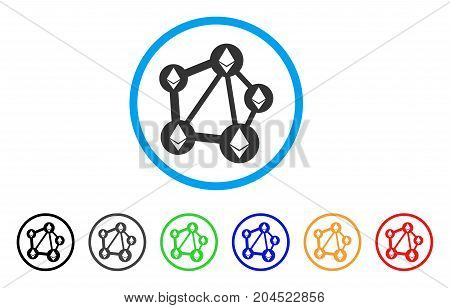 Ethereum Network icon. Vector illustration style is a flat iconic ethereum network grey rounded symbol inside light blue circle with black, gray, green, blue, red, orange color additional versions.