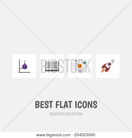 Flat Icon Knowledge Set Of Spaceship, Lecture, Flask And Other Vector Objects