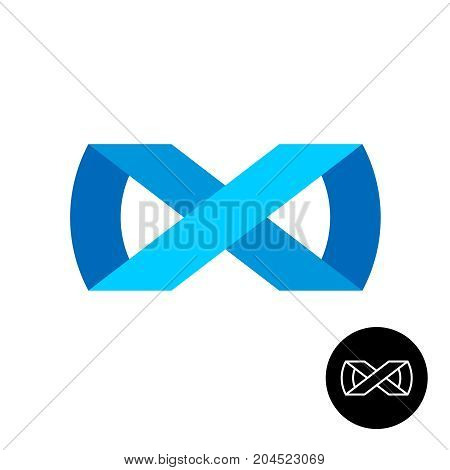 Infinity ribbon style abstract logo. Blur infiniti 3D stripes sign with outline version.