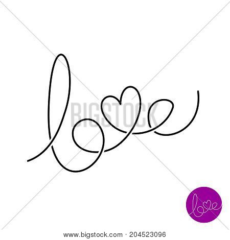Love letters text logo. Lettering thin line style love word with heart shape. Hand written caligraphic elegance doodle sign.