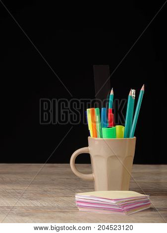 School supplies on a wooden table. Still life, business, education concept.