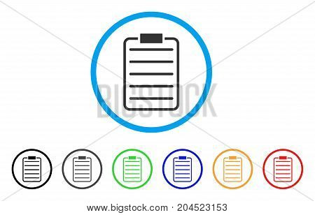 List Page icon. Vector illustration style is a flat iconic list page grey rounded symbol inside light blue circle with black, gray, green, blue, red, orange color additional versions.