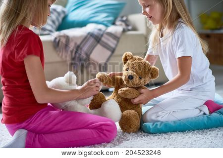Side view of pretty little sisters playing with plush teddy bears while sitting on cozy carpet at spacious living room