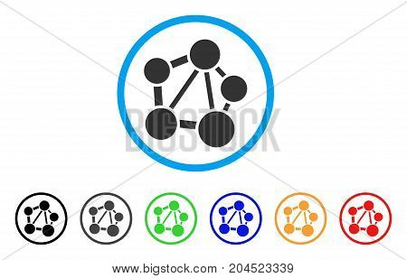 Network icon. Vector illustration style is a flat iconic network grey rounded symbol inside light blue circle with black, gray, green, blue, red, orange color versions.