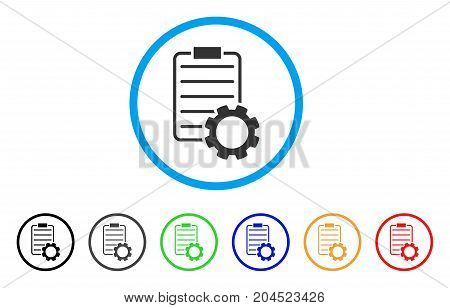 Smart Contract Gear icon. Vector illustration style is a flat iconic smart contract gear gray rounded symbol inside light blue circle with black, gray, green, blue, red, orange color versions.