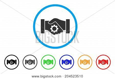 Smart Contract Handshake icon. Vector illustration style is a flat iconic smart contract handshake grey rounded symbol inside light blue circle with black, gray, green, blue, red,