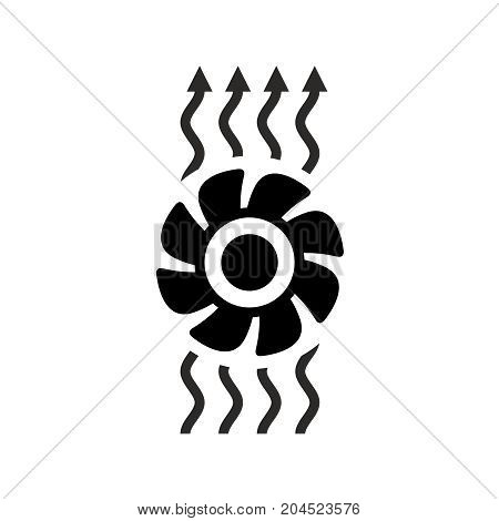 Ventilation icon. Fan with air waves flow up symbol. Exhaust fan switch black sign.