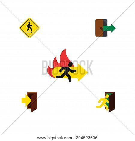 Flat Icon Door Set Of Open Door, Directional, Fire Exit And Other Vector Objects