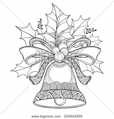 Vector branch with outline leaves and berries of Holly berry and ornate bell with bow isolated on white background. Traditional Christmas symbol in contour style for winter design and coloring book.