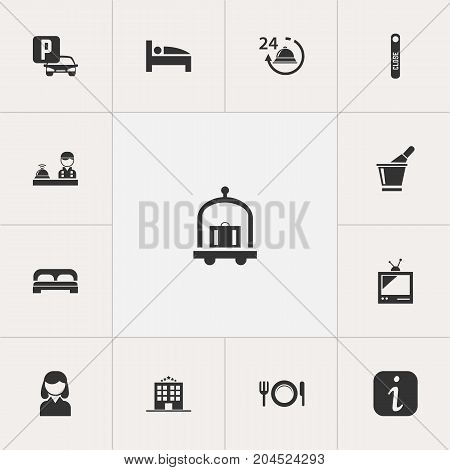 Set Of 13 Editable Plaza Icons. Includes Symbols Such As Reception, Female, Information Sign And More