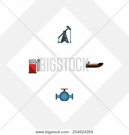 Flat Icon Fuel Set Of Flange, Petrol, Boat And Other Vector Objects