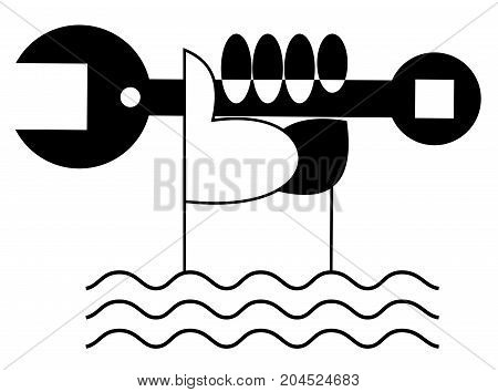 Hand with spanner, water waves icon isolated. Hand with spanner rises up from the water icon